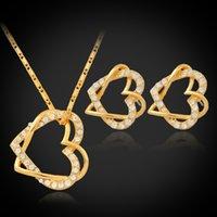 Wholesale 18K Real Gold Plated Hearts Pendant Necklace Earrings Jewelry Sets Austrian Rhinestone Luxury Stud Earrings Set