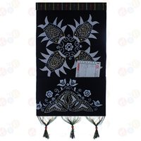 batik wall hangings - Waxprinting pouch letter holder batik painting wall hanging fish cm