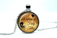 alloy catalog - 10pcs I still believe in fairy tales card catalog Necklace Fairy tale jewelry Glass Photo Cabochon Necklace