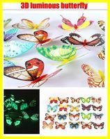 Wholesale 3D artificial butterfly luminous fridge magnet home christmas wedding decoration kid toy