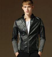 Wholesale Men Korean version of men s denim stitching leather jackets pu leather jacket men s jacket coat