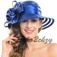 dress hats - Ladies Wide Brimmed Hats Elegant Organza Kentucky Derby Church Hats Bow Decoration Women Wedding Dress Floppy Hats GS