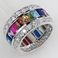 Wholesale Morganite Blue Topaz Garnet Amethyst Pink Sapphire Women Sterling Silver Ring KR07 Size
