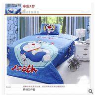 Wholesale Baby Boys Cartoon Doraemon Bedding Set Children s Comfortable Bedroom Duvet Cover Set Bedsheet Quilt Cover Pillow Case TOP742