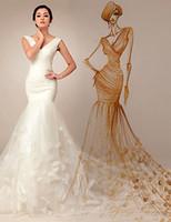 Wholesale Court Train Wedding Dress V neck Mermaid Wedding Dresses Off The Shoulder V Neck Long Sleeves Court Train Long Wedding Bridal Gowns