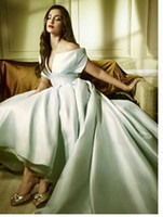 Cheap 2015 Best Selling Sonam Kapoor Off-Shoulder Hi-Lo Gorgeous Evening Dresses With Sash Shiny Satin Sexy Party Prom Gowns Fashion Wedding Dress