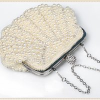 Wholesale Woman s Handbag With Faux Pearls Crystals Purse Wedding Bridal Hand Bag Party Banquet Shoulder Bag hb200