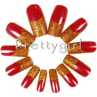 acrylic nail art pictures - Red Lucky French Nail Tips False Nail Art Charm D Fake Nail Tip Acrylic Powder Set Kit Wedding Picture Shown