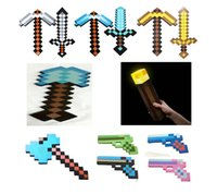 gun - Sample order Minecraft Foam Diamond Sword and Pickaxe Gun shovel Axe torch Combo Set designs weapons EVA Foam diamond pick Y20132