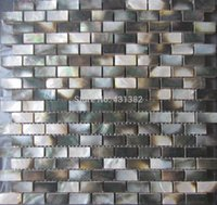Wholesale Mother of pearl Black tiles natural color shell wall mosaic tiles brick tile for interior decoration