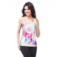 american illustrators - 2015 European and American fashion new Slim thin digital printing illustrator word vest DBS1078
