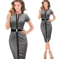 belted tunic dress - 2015 Womens Belt Check Front Zipper Slit Tunic Wear To Work Dresses Business Casual Party Pencil Bodycon Knee Length Sheath Dress OXLOX031