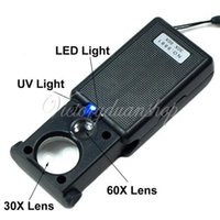 Wholesale New x x LED Lighted Pocket Magnifier Microscope Jewelers Loupe Loop Magnifying Glass UV Currency Light