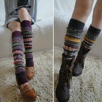 Wholesale 2014 Christmas Gift Leg Warmers Women Winter Boot Socks Color Striped Knee Knitted Wool Blend Leg Warmers