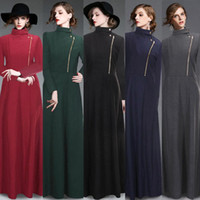 Wholesale Fall Winter Long Trench Coats for Women New Cashmere Overcoat High Collar Women Wool Blend Outwear Zipper Button Up Spring OXLW059