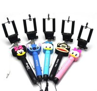 Wholesale 100sets Cartoon Cute Self Monopod Stick Extendable Handheld Photograph Camera Tripods Monopod Selfie Sticker Universal for cellphone