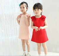 childrens wear - Baby Girls Floral Shoulder Vest Dress Childrens formal slim Mini Dresses Korea Cute Kids Princess Dress tank tops Babies Clothes Kids wear