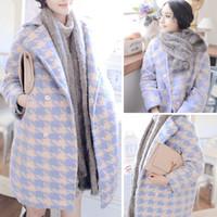 cashmere coats - Korean fashion winter long overcoat women wide waisted full sleeve loose wool plaid coat cashmere coat Lapel Outerwear