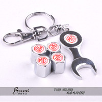 Wholesale Car Wheel Tire Valve Caps with Mini Wrench Keychain case for MG Piece Pack