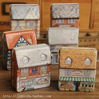 colored full housing - 5pcs Mini tin box full colored drawing three dimensional small house small tin candy box gift storage box