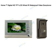 Wholesale 7 quot inch Digital HD TFT LCD Wired IR Waterproof Video Doorphone Intercom Video System