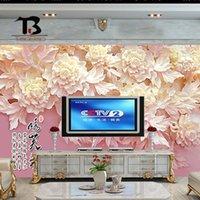 asia ceramic - Tao Bao Arts Chinese bedroom modern minimalist TV backdrop backdrop hibiscus flower dimensional sculpture TB