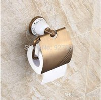Wholesale Fashion Wall Mounted Brass Toilet Paper Holder Antique Brass Ceramic Paper Tissue Holder