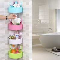 Wholesale Kitchenware Toiletry Bathroom Organizer Plastic Durable Bathroom Storage Shelf Kitchen Storage Holder with Sucker New Designed