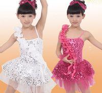 ballet performance dress - Children Girls Ballet Dress Model Latin Dance Performance Wear Stage Sequin Sparking Party Dressy Tutu Veill SCostume Clothing J3153