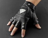 Wholesale Cool Mens Leather Gloves - Cool Mens Leather Studded Punk Rock Driving Motorcycle Biker Fingerless Gloves