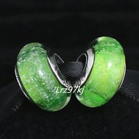 Wholesale 5pcs S925 Sterling Silver Tinkerbell s Signature Color Fluorescence Murano Glass Beads Fit European Pandora charm Bracelets Necklaces
