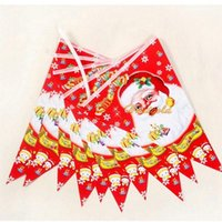 Wholesale 5Lot Santa Claus Xmas Merry Christmas Tree Hanging Paper Flag Banner Ornament Gift Decoration Flag