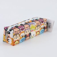Wholesale 70pcs TSUM TSUM pencil bag Mickey Minnie Donald Duck cartoon student pencil case pen bags children Stationary School Supplies HX