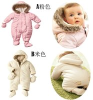 fleece gloves - EMS sets Baby Boys Girls Winter Set With Gloves Foot Strap Kids Coverall Hoodies Fleece Romper Snowsuit Jumpsuit Warmth Wool H2325