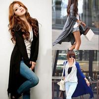 al por mayor spring coat-2016 Escudo Wraps maxi largo Outwear M115 primavera para mujer Casual manga larga chaqueta de punto Prendas de punto suave modal de bambú suéter