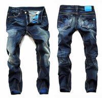 branded jeans - 2016 fashion true jeans For Men new arrival Brand Mens Jeans Straight Bleached Printed Jeans Fashion Designer Ripped biker jeans