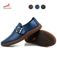Wholesale Hand made genuine leather men s Oxfords shoes soft Leather shoes for men buckle strap men s Flat shoes men s Loafers