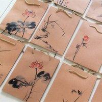 art paper christmas bag - Kraft reticule hand painted packing gift bag Chinese painting art