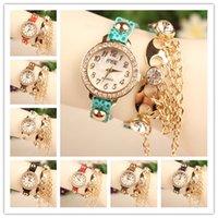 Wholesale Fashion Lady Wrap Watches Leather Wrist Watches Women Leather Bracelet Quartz Watches Mix Colors Drop