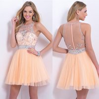 apricot cocktail dress - 2015 Apricot Blush Bling Homecoming Dresses Halter A line Tulle Mini Sexy Backless Crystal Cocktail Dress Short Prom Gowns Party Dress
