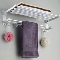 bar storage rack - Deal Space Aluminum Folding Towel Rail Holder Wall Mounted Bathroom Storage Shelf Rack Hook Bar Hanger Bathroom Accessories