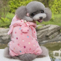 Wholesale Puppy Pet Dog Dot Bow Soft Warm Jumpsuit Pajamas Coat Hoodie Clothes Costume