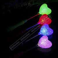 Wholesale 9 inch Portable Electronic Glowing Sticks LED Heart Style Flashing Shaking Rods LED Flash Light Children s Festival Favors