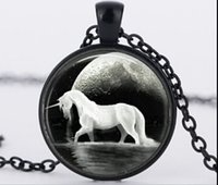 art rhinestone horse - Cute horse silver pendant necklace jewelry glass art glass cabochon unicorn necklace jewelry animal jewelry CN916
