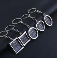 achat en gros de cadres photo pour les voitures-clés anneaux photo Frame chaud Keychain Porte-clé unique porte-clés porte-clés amant meilleur Faveur de mariage voiture Keychain cadeaux pendentif gros