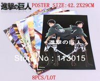 attack on titan poster - 8pcs Attack on Titan Poster anime Posters x29cm High quality printing Embossed