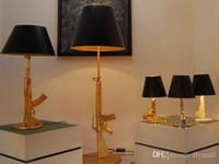 Wholesale Modern art Flos Guns AK47 Table lamp Creative Starck Design Philippe Bedroom Desk light AC V V Gold Chrome