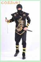 adult black ninja costume - Halloween Cool Adult Men Black Gold Ninja Samurai Cosplay Costume for Stage Performance or Masquerade Party