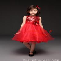 al por mayor las niñas se visten de lentejuelas de color rojo-Los vestidos de partido rojos de las muchachas de la venta caliente de Pettigirl con los cequis y la flor infantil de la flor de Rose arropan la ropa de los cabritos GD31126-1