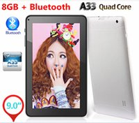 Wholesale New Inch A33 Allwinner Tablet PC Quad Core GHz Google Android Bluetooth M GB Dual Camera Wifi Skype V90 DHL